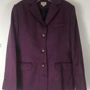 LL Bean Wool Cashmere Blend Blazer 10 Purple Berry